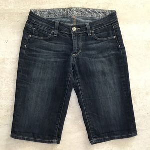 Paige Low Rise Dark Bermuda Jean Shorts - Size 24